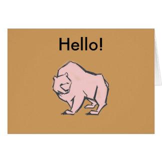 Modern, Simple & Beautiful Hand Drawn Pink Bear Card