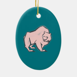 Modern, Simple & Beautiful Hand Drawn Pink Bear Ceramic Oval Ornament