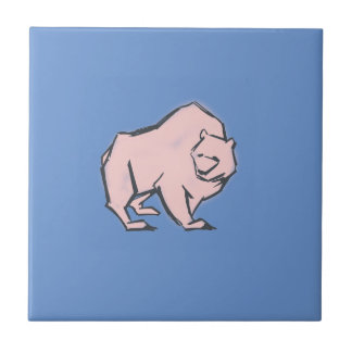 Modern, Simple & Beautiful Hand Drawn Pink Bear Ceramic Tile