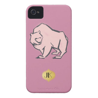 Modern, Simple & Beautiful Hand Drawn Pink Bear iPhone 4 Case-Mate Case