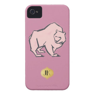 Modern, Simple & Beautiful Hand Drawn Pink Bear iPhone 4 Covers
