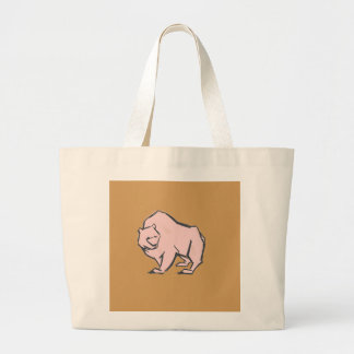 Modern, Simple & Beautiful Hand Drawn Pink Bear Large Tote Bag