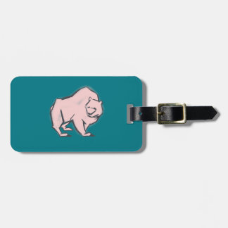 Modern, Simple & Beautiful Hand Drawn Pink Bear Luggage Tag