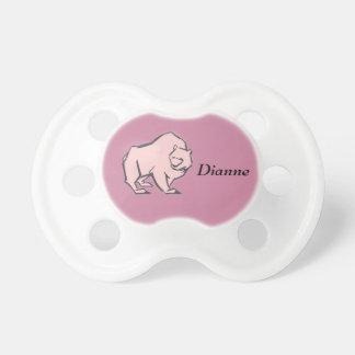 Modern, Simple & Beautiful Hand Drawn Pink Bear Pacifier