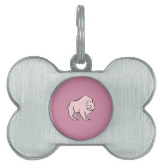 Modern, Simple & Beautiful Hand Drawn Pink Bear Pet Name Tag