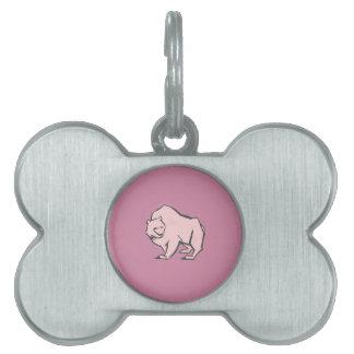 Modern, Simple & Beautiful Hand Drawn Pink Bear Pet Tag