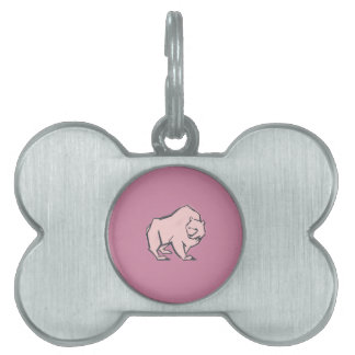 Modern, Simple & Beautiful Hand Drawn Pink Bear Pet Tags