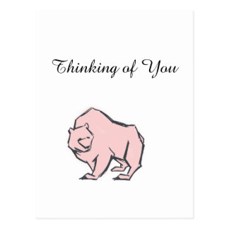 Modern, Simple & Beautiful Hand Drawn Pink Bear Postcard