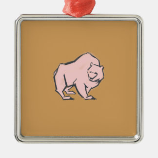 Modern, Simple & Beautiful Hand Drawn Pink Bear Silver-Colored Square Ornament