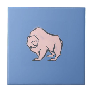 Modern, Simple & Beautiful Hand Drawn Pink Bear Tile