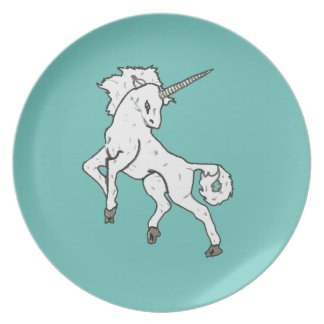 Modern, Simple & Beautiful Hand Drawn Unicorn Dinner Plate