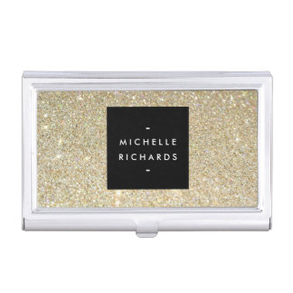 MODERN SIMPLE BLACK BOX GOLD GLITTER Card Holder Case For Business Cards
