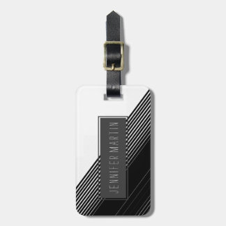 Modern Simple Black Stripes and White Color Block Luggage Tag