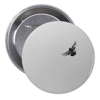 Modern simple black white flying bird pigeon photo 3 inch round button