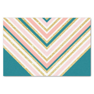 Modern simple chevron pink gold jade green tissue paper