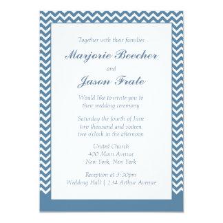 Modern Simple Chevron Wedding Invitation Sea Blue