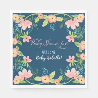 Modern Simple Floral Boho Girl Baby Shower Navy Disposable Napkin