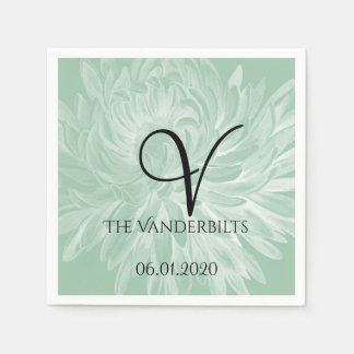 Modern Simple Flower in Mint Green Wedding Napkin Disposable Napkins