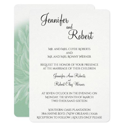 Modern Simple Flower in Mint Wedding Invitation