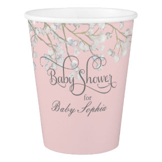Modern Simple Girl Baby Shower Babys Breath Floral Paper Cup