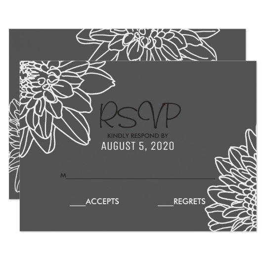 Modern Simple Graphic Flowers | Wedding RSVP Cards