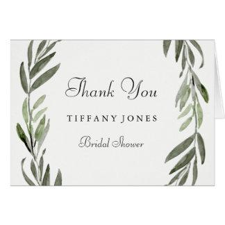 Modern Simple Green Leaf Bridal Shower Thank You Card