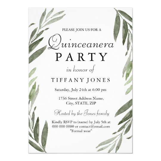 Modern Simple Green Leaf Quinceanera Party Invite