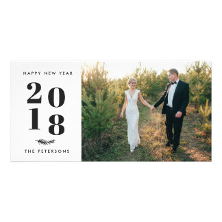 Modern Simple Happy New Year Holiday Photo Card