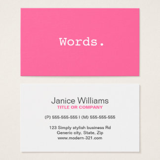 Modern simple pink writer publisher editor business card