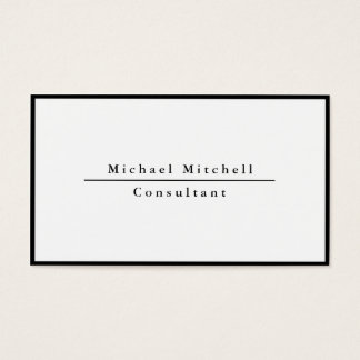 Modern Simple Plain Elegant Black White Border Business Card