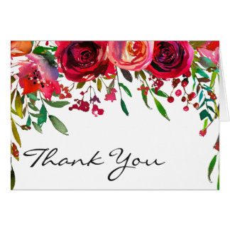 Modern Simple Red Rose Thank You Note Card