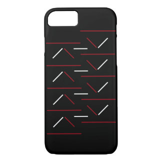 Modern & Simple Red & White Line Pattern On Black iPhone 8/7 Case