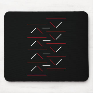Modern & Simple Red & White Line Pattern On Black Mouse Pad