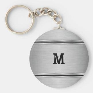 Modern Simple Silver Gray Metallic Design Keychain
