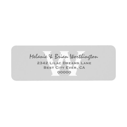 Modern Simple Silver Grey Monogram Wedding V12 Return Address Label
