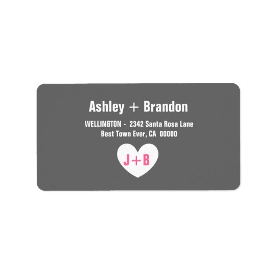 Modern Simple Style GRAY with Heart V022 Label
