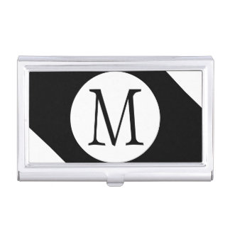 Modern, Simple & Stylish Black and White Monogram Business Card Holder