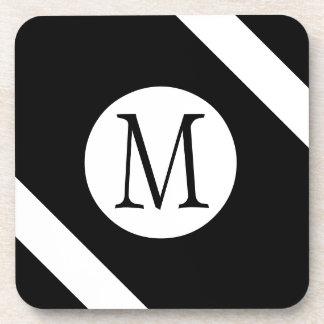 Modern, Simple & Stylish Black and White Monogram Coaster