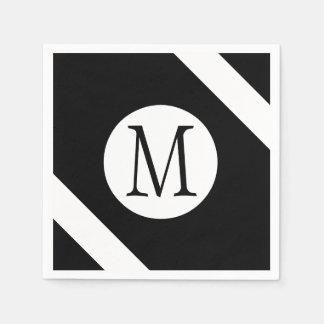 Modern, Simple & Stylish Black and White Monogram Disposable Napkins