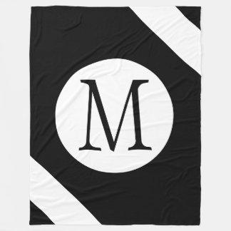 Modern, Simple & Stylish Black and White Monogram Fleece Blanket