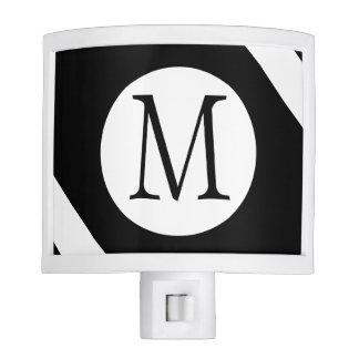 Modern, Simple & Stylish Black and White Monogram Night Light