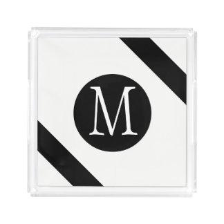 Modern, Simple & Stylish White & Black Monogram Acrylic Tray