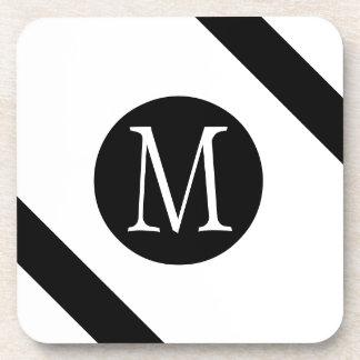 Modern, Simple & Stylish White & Black Monogram Coaster