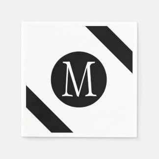 Modern, Simple & Stylish White & Black Monogram Disposable Napkins