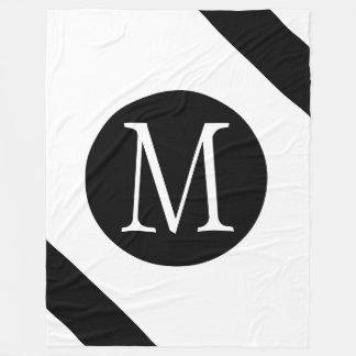 Modern, Simple & Stylish White & Black Monogram Fleece Blanket