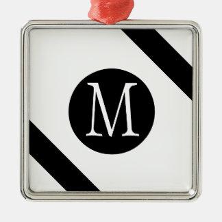 Modern, Simple & Stylish White & Black Monogram Metal Ornament