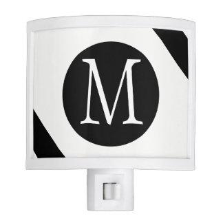 Modern, Simple & Stylish White & Black Monogram Night Light