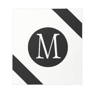 Modern, Simple & Stylish White & Black Monogram Notepad