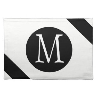 Modern, Simple & Stylish White & Black Monogram Placemat