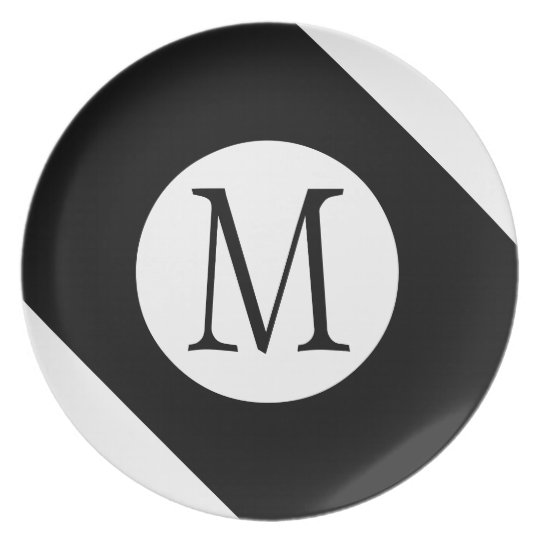 Modern, Simple & Stylish White & Black Monogram Plate